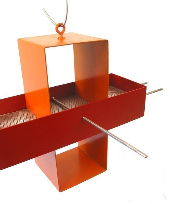 Plus Modern Bird Feeder in Pumpkin Orange and Paprika