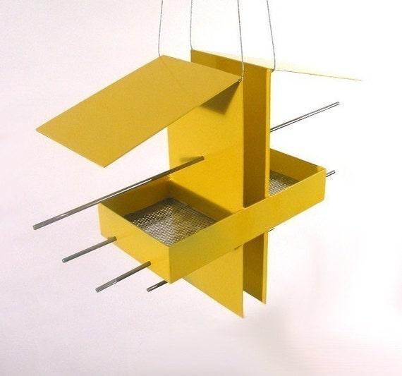 Duo Modern Hanging Bird Feeder in Yellow