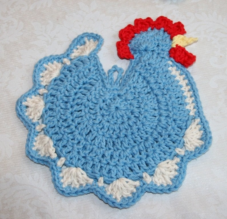 Edging Pot Holders: Chicken Chic Crochet Pot Holder Potholder Hot Pad Red Green