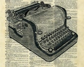 ANTIQUE TYPEWRITER...  print of an original pencil and pen  ILLUSTRATION ON AN OLD DICTIONARY PAGE