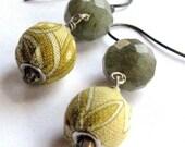CHAMOMILE TEA-Fabric/Labradorite/Sterling-Earrings