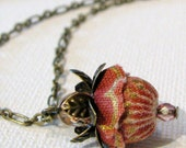 "Fabric Flower Pendant Necklace ""WILD ROSE"" rose"