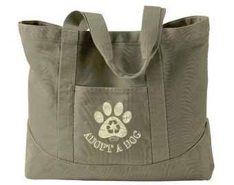Adopt a Dog Large Canvas Tote