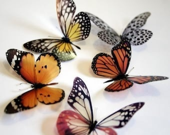 6 x 3D Natural Transparent Butterflies for use in Decorating or as a Craft Supply