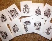 Set of 10 Alice in Wonderland  Note Cards-Printable JPG Digital Download