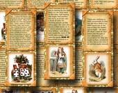Alice In Wonderland- CHaRMiNG BookMarks/Hang Tags -craft supplies- Printable Collage Sheet JPG Digital File-BUy ONe GEt ONe FREE