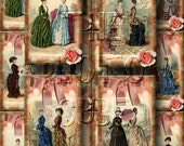 Victorian Women's Fashion Clothing- ANTiQUE BOUTiQUE Vintage Art Tags/Cards- Printable Collage Sheet JPG Digital File- NeW LoWER PRiCE