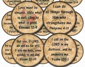 Bible Verses - Lovely pRiMiTiVe Circles - Hope, Inspirational, Love, Faith- Printable Collage Sheet JPG Digital File- BUy ONe GEt ONe FREE