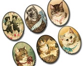 CATS Kittens Kittys 30x40 mm ovals-INSTaNT DOWNLoAD- Printable Collage Sheet JPG Digital File -Great For Jewelry Pendants-NeW LoWER PRiCE