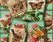 Stunning Vintage Illustrations-Birds, Butterflies, Nests, Roses- labels/cards -Printable Collage Sheet JPG Digital File-Buy ONe GEt ONe FREE