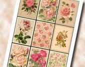 ViNTAGE RoSE w/polka dots-Set of 9 hang/gift tags/Cards/Labels- Printable Collage Sheet JPG Digital File- BuY OnE GeT OnE FREE