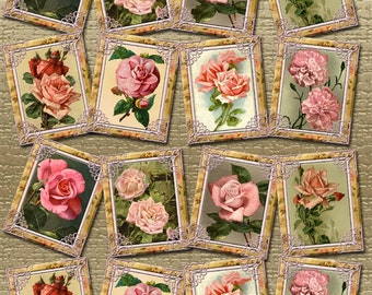 LoVeLY RoSE GaRDeN- ViNTAGE TReASURES- Tags/Cards-paper crafts -Printable Collage Sheet JPG Digital File- NeW LoWER PRiCE