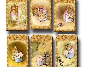 Miss Tittlemouse-Delightful Story Time Art Hang/Gift Tags/Cards/Labels- INSTaNT DOWNLoAD- Printable Collage Sheet JPG Digital File