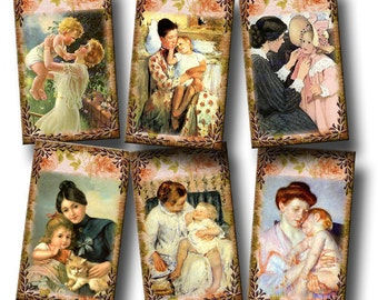 MoTHER and Child - Vintage Art Hang/Gift Tags/cards/labels-INSTaND DOWNLoAD- Printable Collage Sheet JPG Digital File- New Lower Price