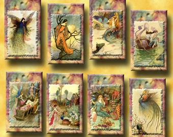 FAiRy PiXie ImP SpriTe-WHiMSiCaL Vintage Art Hang/Gift Tags/paper crafts- Printable Collage Sheet Download JPG Digital File-NeW LoWER PRiCE