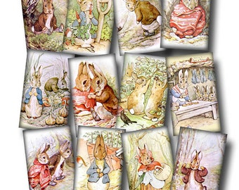 BUNNy RaBBiTs ViNtAgE ArT Hang/Gift Tags -Printable Collage Sheet JPG Digital File-Peter Rabbit, Benjamin Bunny-New Lower Price