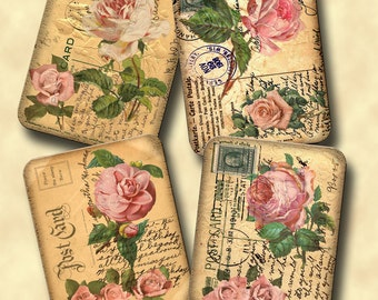 sHaBBy CHiC PiNK RoSeS -INSTaNT DOWNLOaD- DiGiTaL CoLLaGe ShEEt  AGeD aNTiQUe pOsT cArD 4x5 HaNG TaGs - aLTeReD aRt
