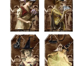 Quirky WITCHES - CLeVeR Vintage ALtErEd ArT Hang/Gift Tags -INSTaNT DOWNLoAD- Printable Collage Sheet JPG Digital File