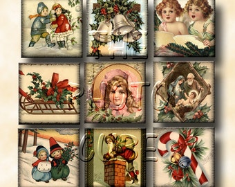 20 AnTiQuEd Christmas 2x2 inch squares -Lovely Vintage Graphics- Printable Collage Sheet JPG Digital File- New Lower Price