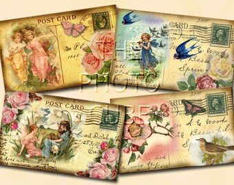 sHaBBY cHiC wHiMSiCaL PoSt CaRd FaiRy ALtErEd Vintage Art Hang Tags- Printable Collage Sheet- JPG Digital File-New Lower Price
