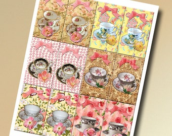 Tea Cups/ Victorian Tea Party Hang/Gift Tags-INSTAnT DOWNLoAD- Printable Collage Sheet Download JPG Digital File- NeW LoWER PRiCE