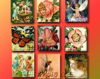"""Whimsical Vintage Art Scrabble Tile Images 1""""x1"""" - Printable Collage Sheet Digital File - Fairies, Roses, Butterflies - New LoWER PRiCE"""