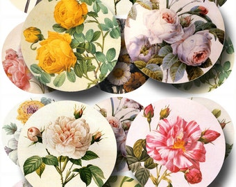 Redoute ROSES- Elegant CLASSy Vintage Art 2.5 Inch Circles -Printable Collage Sheet  JPG Digital File- NeW LoWER PRiCE