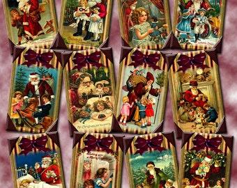 "Antiqued ""Old World Santa Claus"" ViNtAgE ArT Christmas Hang Tags- Printable Collage Sheet Download JPG Digital File- BuY OnE GeT OnE FREE"