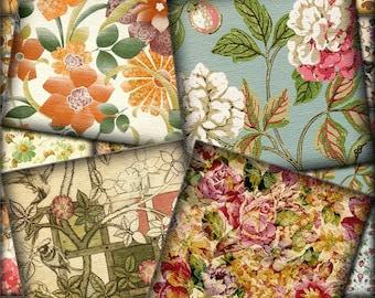 "Antiqued Floral Squares-CHaRMiNG 2"" for Backgrounds, Cards,Tags, Scrapbooking -INSTaNT DOWNLoAD- Printable Collage Sheet JPG Digital File"