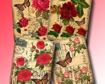sHaBBy CHiC Red & Pink RoSeS AGeD aNTiQUe pOsT cArD TaGs/Cards-INSTaNT DoWNLOAD-Printable JPG DiGiTaL CoLLaGe Sheet