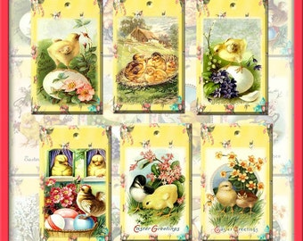 Cute Easter Chicks ViNtAgE ArT Hang/Gift Tags- Printable Collage Sheet Download JPG Digital File-CHRISTIAN- INSTaNT DOWNLoAD