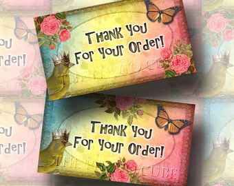 Thank You For Your Order-CHaRMING SHaBBY CHiC ColoFuL Enclosure Cards - Printable Collage Sheet JPG Digital File- New Lower Price