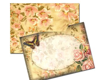 Mini Note Cards w/Envelope Template - Butterfly & Roses -TWO Printable Collage Sheets JPG Digital Files