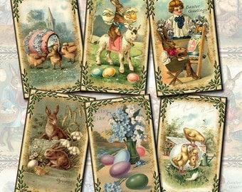Easter-Charming Primitive Spring ViNtAgE ArT Hang/Gift Tags-INSTaNT DOWNLoAD- Printable Collage Sheet Download JPG Digital File-CHRISTIAN