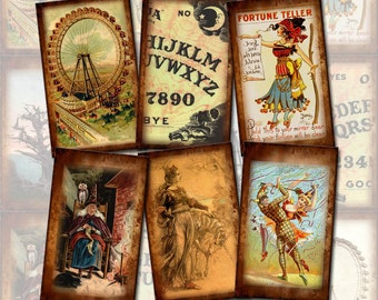 Fortune Teller, Ouija Board, Ferris Wheel- PriMiTiVe Vintage Art Tags/Cards- Printable Collage Sheet JPG Digital File- New Lower Price