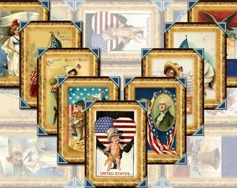 Patriotic Americana- Vintage Art Hang/Gift Tags/Cards-INSTaNT DOWNLoAD- Printable Collage Sheet JPG Digital File