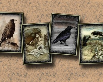 CRoWS/RaVENS/Blackbirds - pRiMiTiVe RuSTiC Vintage Art Hang/Gift Tags/Cards/Labels-Printable Collage Sheet JPG Digital File-NeW LoWER PRiCE