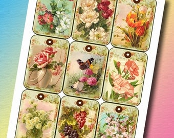Victorian  Flower Garden- Vintage Art Hang/Gift Tags/Labels-INSTaNT DOWNLoAD-Printable Collage Sheet JPG Digital File-NeW LoWER PRiCE