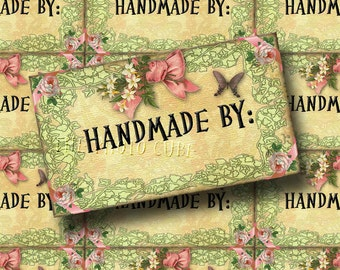 HANDMADE BY: Shabby Chic PRoDuCT LaBeLs, Tags, Cards - Digital Collage Sheet  -New Lower Price
