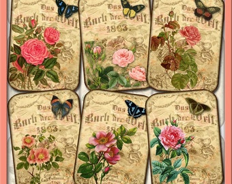 PiNK RoSES & BuTTERFLIES - ENCHaNTiNG Vintage Art Hang/Gift Tags/Cards-Printable Collage Sheet JPG Digital File-NeW LoWER PRiCE