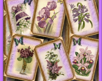 LaVENDER/Violet/Purple Flowers-CHaRMiNG Vintage Art Gift/Hang Tags/Cards- Printable Collage Sheet  JPG Digital File-NeW LoWER PRiCE