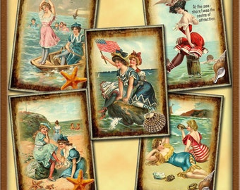 BeACH Fun-Playing By the Ocean-ViNtAgE ILLusTration Tags/Labels/CaRDS -Printable Collage Sheet  JPG Digital File- BuY OnE GeT OnE FREE