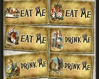 Drink Me and Eat Me Grunged Alice In Wonderland Tags-INSTaNT DOWNLoAD-Printable Collage Sheet Download JPG Digital File -NeW LoWER PRiCE
