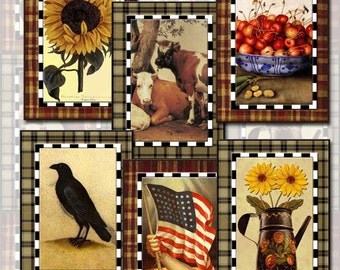 PRiMiTiVe Vintage Art Tags/Cards/Labels-Crow Sunflower Cows USA Flag- Printable Collage Sheet JPG Digital File-New Lower Price