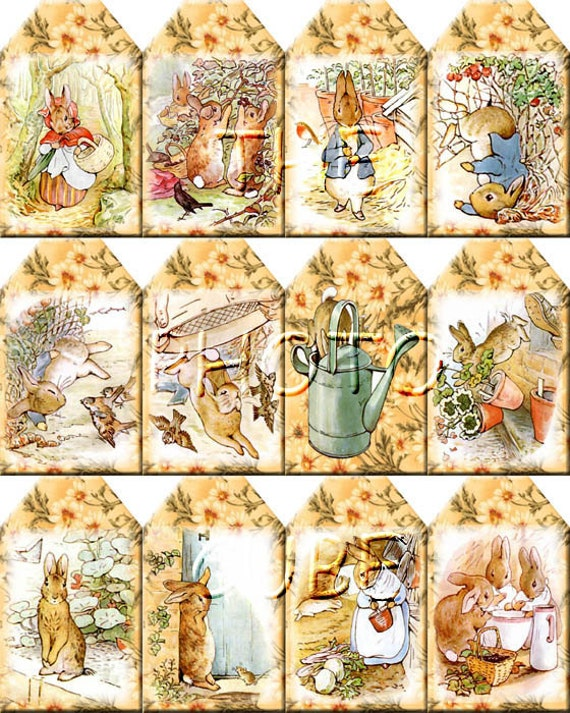 Peter Rabbit ViNtAgE ArT Hang/Gift Tags/Labels Print Your Own Collage Sheet Download JPG Digital File-Buy ONe Get ONe FREE