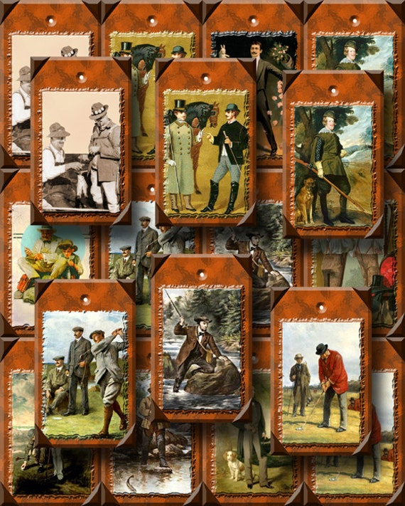 MEN/ Male/ Masculine/ Papa/ Dad- Vintage Art Hang/Gift Tags/Cards- Printable Collage Sheet Dowload JPG Digital File-NeW LoWER PRiCE