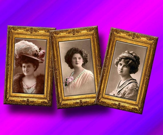 Women's Photographs-Framed Vintage Photos Hang Tags/Cards/Labels-INSTaNT DOWNLoAD-Printable Collage Sheet JPG Digital File-New Lower Price