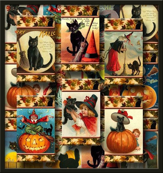 pRiMiTiVe BLaCK CaTS Halloween Vintage Art Hang/Gift Tags -Instant Download- Printable Collage Sheet JPG Digital File-New Lower Price