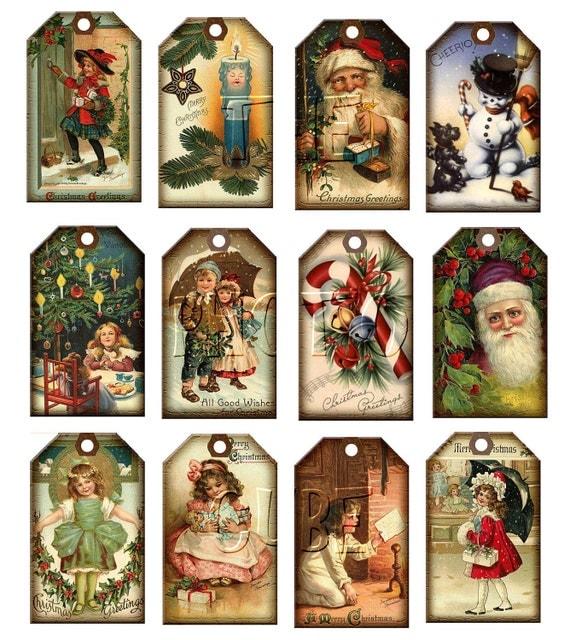 Christmas Vintage Art Hang Gift Tags Santa Claus Candy Cane