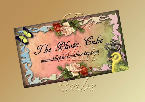 Custom Business Cards- PeRSoNaLiZeD ShAbbY cHiC- PrEttY BirD & BuTTeRfLy- Printable DIGITAL CoLLaGe SHEET -eTSy SHoP CuSToMIZeD PRoDuCT
